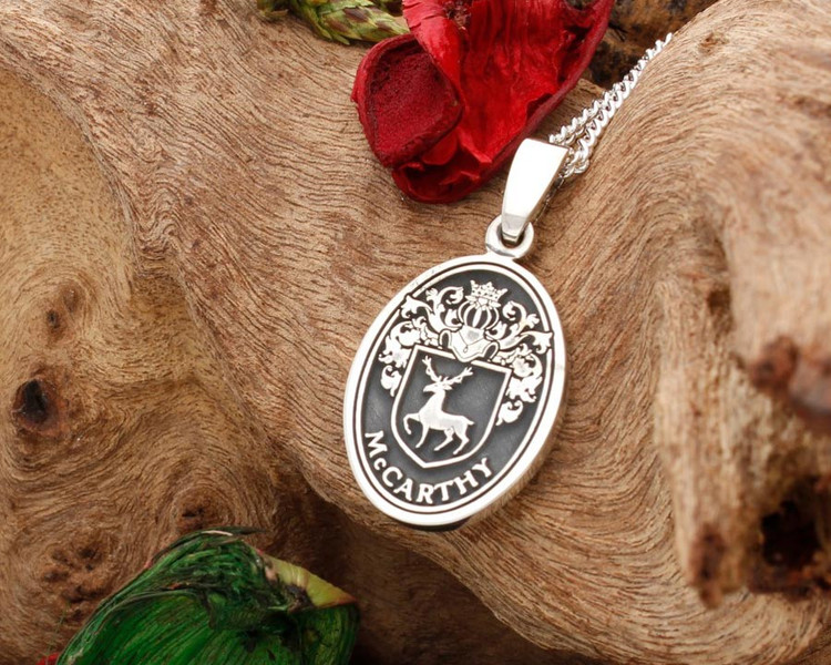 McCarthy Family Crest Engraved Silver Pendant