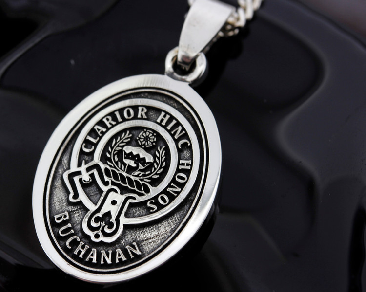 Scottish Clan Buchanan engraved onto Silver Oval Medium Pendant.  All designs available