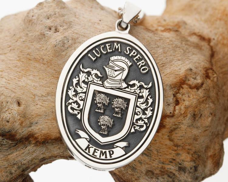 Kemp Family Crest Engraved Silver Pendant