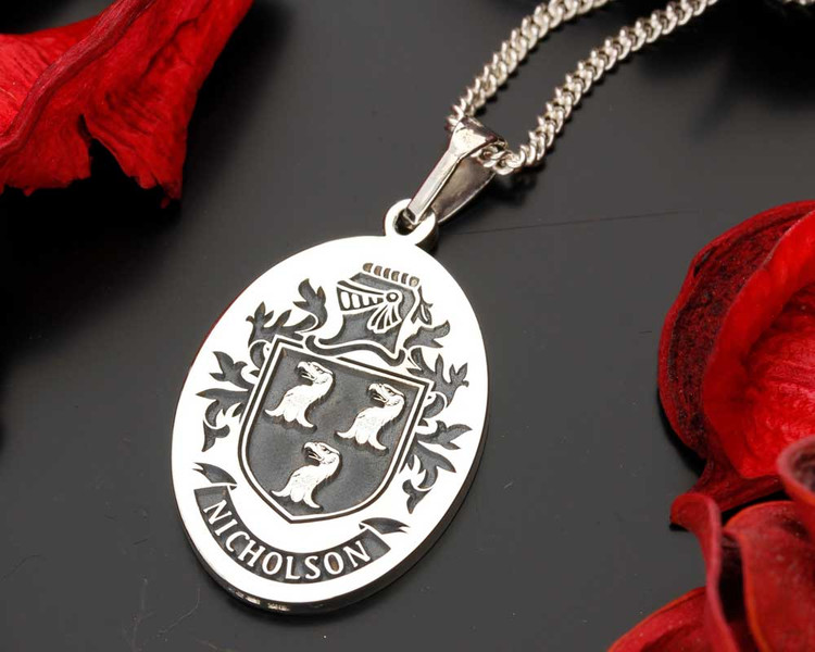 NICHOLSON Family Crest Pendant, also available in Silver Cufflinks, other designs also available, full customised.