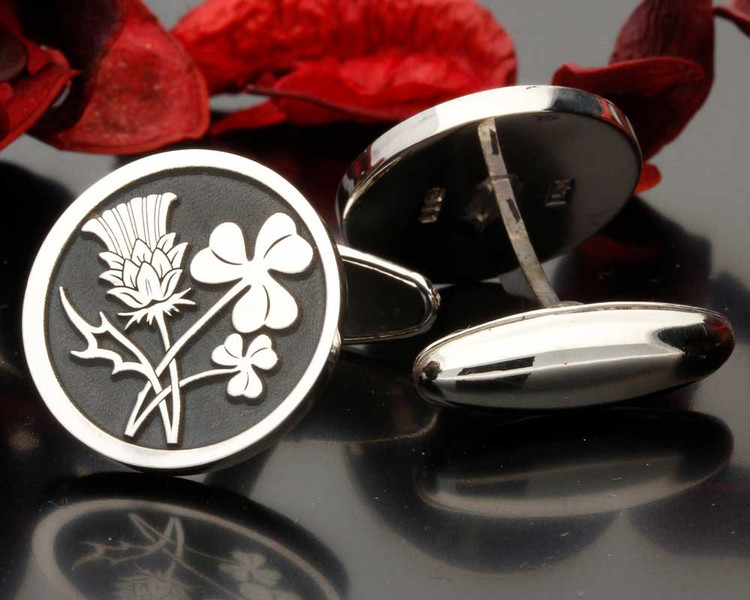 Scottish Thistle Irish Clover Engraved Cufflinks