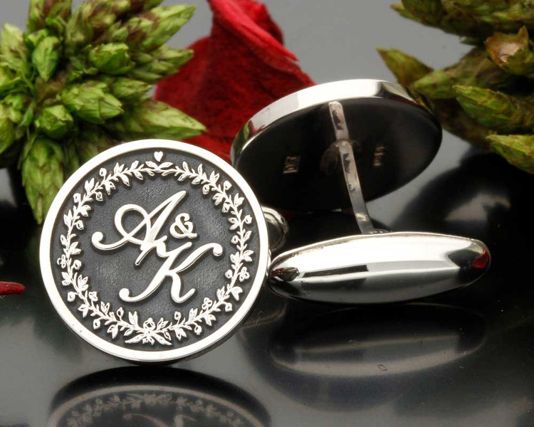 Wreath Monogram Cufflinks Custom Design