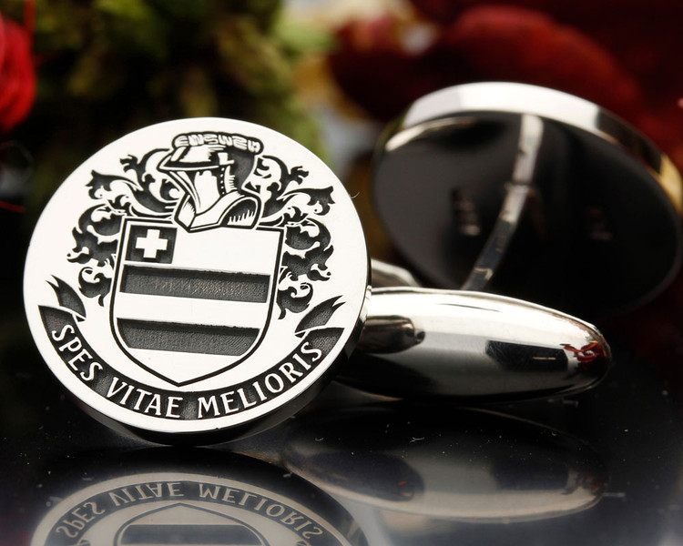BROUGHTON family crest silver cufflinks