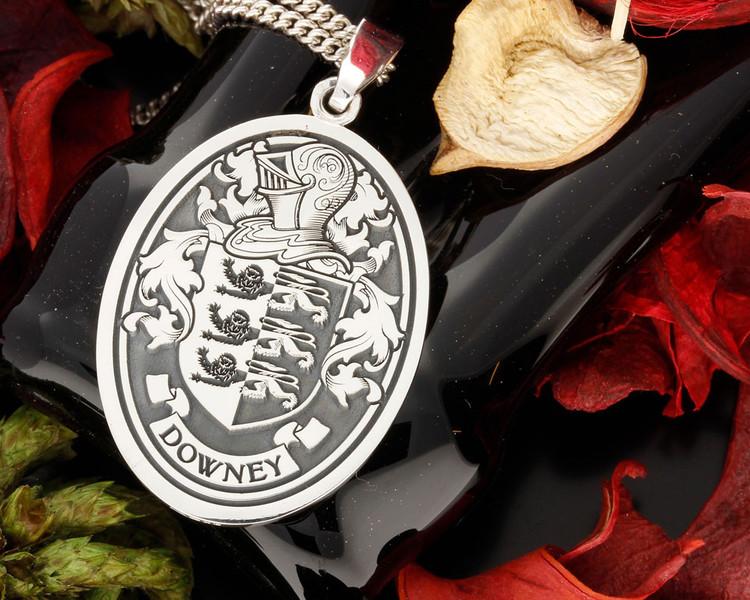 Downey Family Crest Engraved Pendant