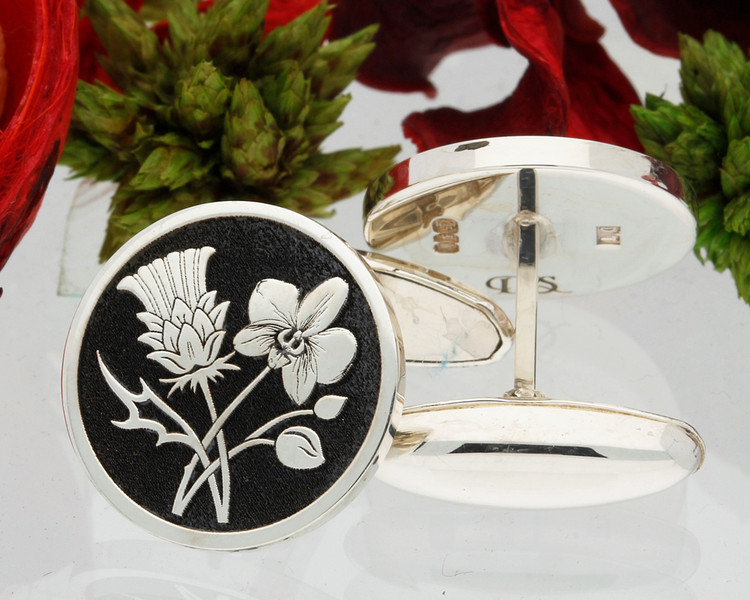 Scottish Thistle Singapore Orchid Cufflinks