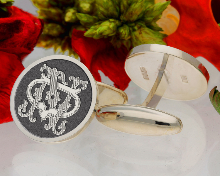 DN ND design 2 Victorian Monogram, borders available, oxidised finish.