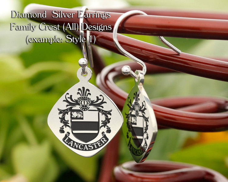 Family Crest Earrings Diamond - Style 1