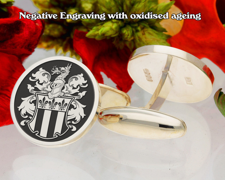 Manuel (Swiss) Family Crest Cufflinks Negative