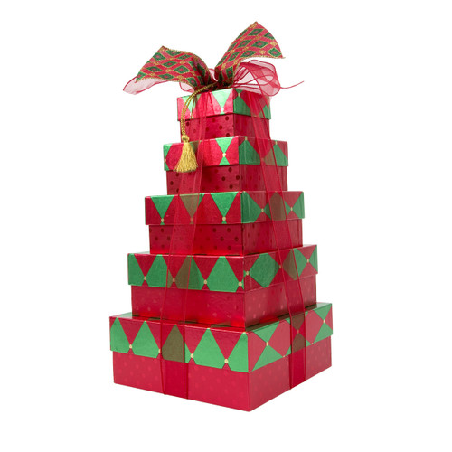 Festive Poinsettia 5 Tier Tower