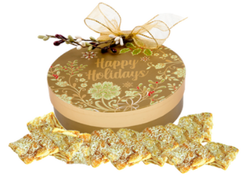 Happy Holiday Ornament Box filled with Coconut Cashew Crunch