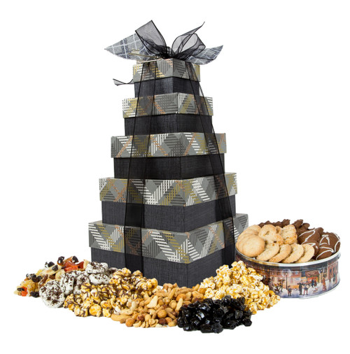 Winter Plaid 5 Tier Tower filled with Treats