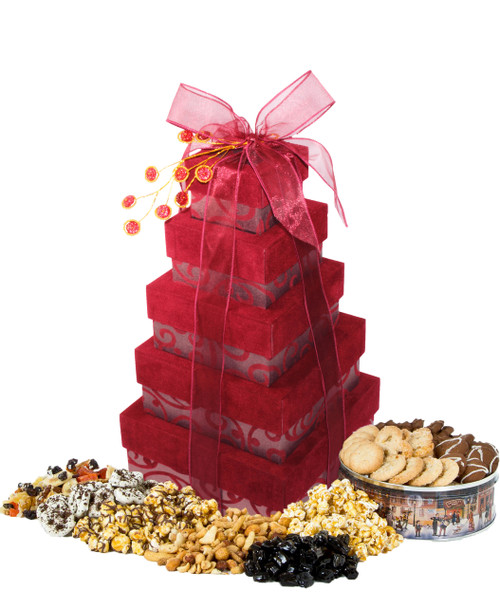 Warm Burgundy 5 Tier Tower filled with Treats