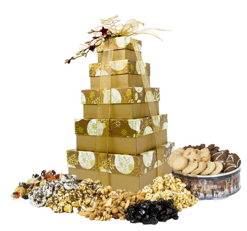 Elegantly Ornamented 5 Tier Tower with Treats