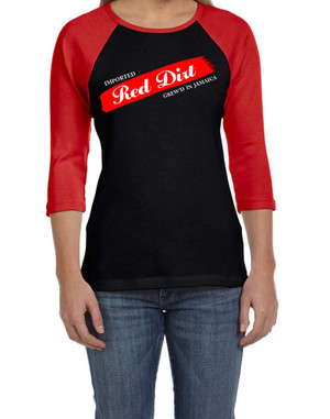 BlackCotton | Red Dirt Premier Raglan Ladies Tee BLK-RD