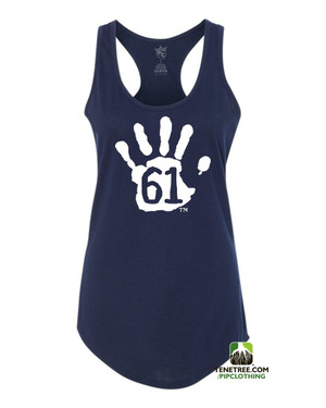 PC RUH Hand61 Ladies Navy - White Scalloped Racerback Tank