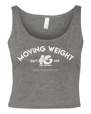 Keep Grinding Apparel | Moving Weight - Heather Grey Crop Tank