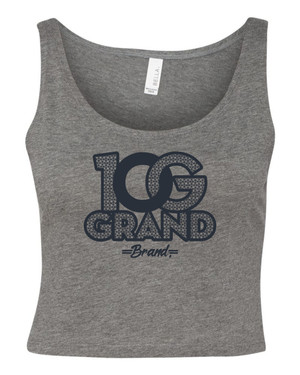 10 Grand Brand | 0G - Heather Grey - Navy Crop Tank
