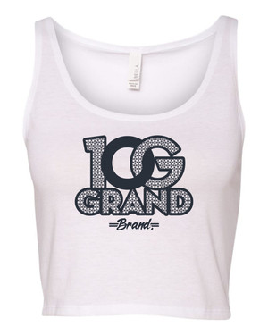 10 Grand Brand | 0G - White - Navy Crop Tank