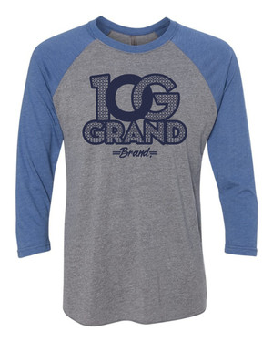 10 Grand Brand | 0G - Heather Grey Vintage Royal - Navy Raglan
