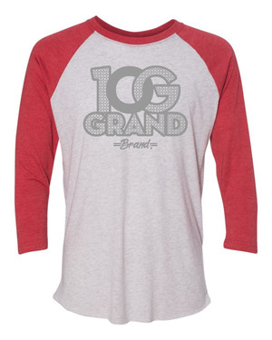 10 Grand Brand | 0G - Heather White Vintage Red - Cool Grey Raglan