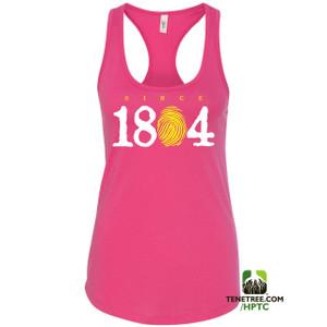 Hispaniola Port & Trade Company Since 1804 Ladies Racerback Tank Top Hot Pink WhiteLemon