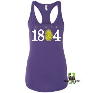 Hispaniola Port & Trade Company Since 1804 Ladies Racerback Tank Top Purple WhiteLemon