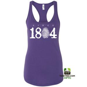 Hispaniola Port & Trade Company Since 1804 Ladies Racerback Tank Top Purple White