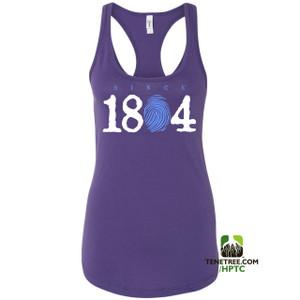 Hispaniola Port & Trade Company Since 1804 Ladies Racerback Tank Top Purple WhiteLight Blue
