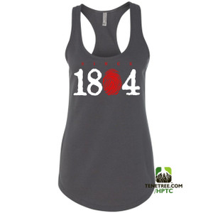 Hispaniola Port & Trade Company Since 1804 Ladies Racerback Tank Top Charcoal White Red