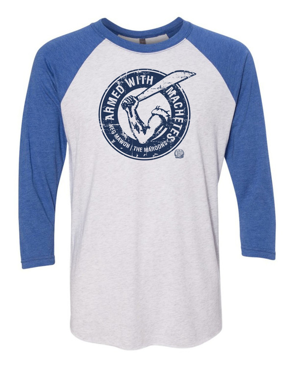 Hispaniola Port & Trade Company AWM Since 1804 Triblend Raglan Vin White Royal
