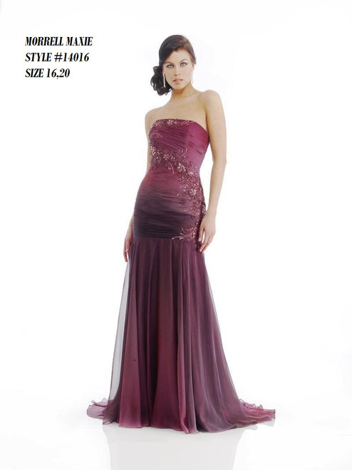 Brand Name: Morrell Maxie  Description: Long Strapples Dress In Plum Color  Material: 100% Polyester  Available Sizes : 16,18,20  BEFORE WAS $459.00  NOW $269.00      Please call 213-748-6464 for availability of the product and other questions and prices !