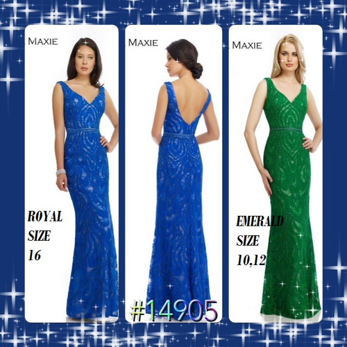MORRELL MAXIE #14905  COLOR: ROYAL BLUE SIZE 16              GREEN SIZE 10-12  BEFORE $389.00 NOW $219.00   LONG GOWN SHOWCASES A V-NECKLINE WITH DEEP V- BACK EXPOSING YOUR BEAUTIFUL SKIN.  A MIXTURE OF BEADS AND SPLENDID LACE ADORNS THE ENTIRE SILHOVETTE OVER CHIFFON FABRIC.    FOR MORE IMFORMATION AND PRICE PLEASE GIVE US A CALL     WE BEAT  ALL PRICES !!!!    VIA MIMI FASHION    1333 S. SANTEE ST.    LA,CA.90015    TEL: (213)748-MIMI (6464)    FAX: (213)749-MIMI (6464)     E-Mail: mimi@viamimifashion.com     https://www.facebook.com/viamimifashion       https://www.instagram.com/viamimifashion