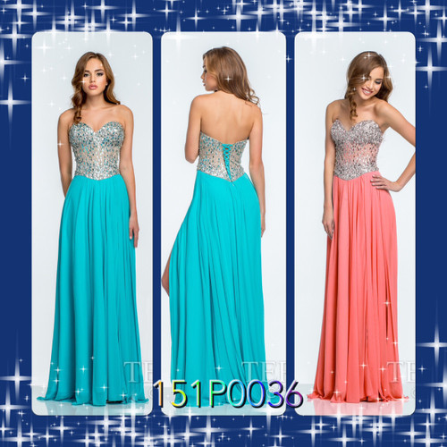 Terani 151P0036 BEFORE $299.00    NOW $189.00   Shimmering strapless evening gown by Terani Prom     You`re in for the time of your life when you don this dramatically sparkling Terani 151P0037 Prom gown! Its form-fitting sweetheart bodice features radiating expanses of shimmering accents. The dropped waist forgives flaws with ease. With its high side slit and layered design, the floor-length skirt contrasts beautifully with the rest of this chic look.  FOR PRICE OR MORE IMFORMATION PLEASE GIVE US A CALL  VIA MIMI FASHION  1333 S. SANTEE ST   LA,CA.90015  TEL: (213)748-MIMI (6464)  FAX: (213)749-MIMI (6464)  E-Mail: mimi@viamimifashion.com  https://www.facebook.com/viamimifashion  https://www.instagram.com/viamimifashion  https://twitter.com/viamimifashion