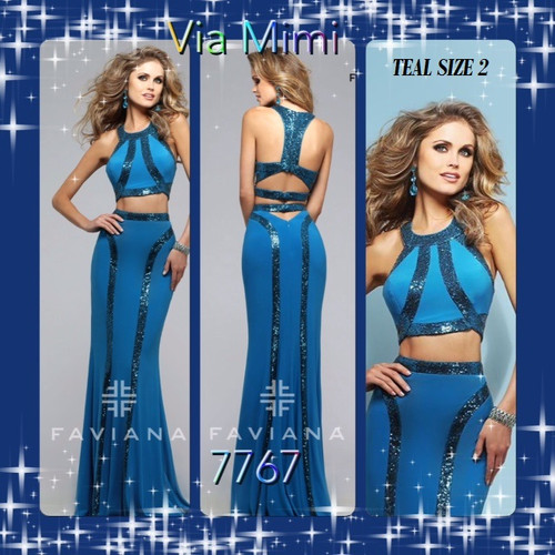 FAVIANA STYLE 7767 TEAL COLOR SIZE 2 ONLY SPECIAL PRICE $249.00!!!