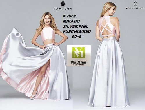 FAVIANA STYLE #7962 MIKADO   SIZE : 00-8  COLOR: SILVER/PINK, FUCHSIA/RED  FOR MORE IMFORMATION AND PRICE PLEASE GIVE US A CALL   WE BEAT  ALL PRICES !!!!  VIA MIMI FASHION  1333 S. SANTEE ST.  LA,CA.90015  TEL: (213)748-MIMI (6464)  FAX: (213)749-MIMI (6464)  E-Mail: mimi@viamimifashion.com  http://viamimifashion.com  https://www.facebook.com/viamimifashion    https://www.instagram.com/viamimifashion  https://twitter.com/viamimifashion