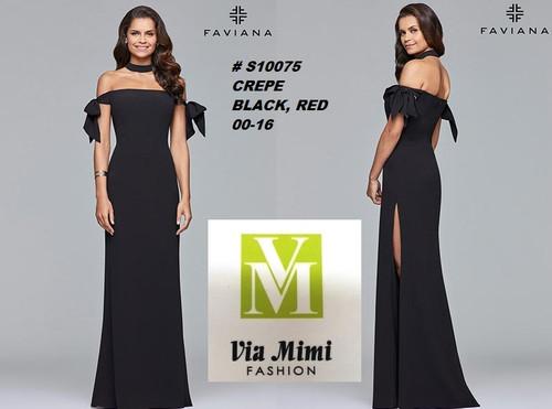 FAVIANA STYLE #S10075  CREPE   SIZE : 00-16  COLOR: BLACK, RED    FOR MORE IMFORMATION AND PRICE PLEASE GIVE US A CALL   WE BEAT  ALL PRICES !!!!  VIA MIMI FASHION  1333 S. SANTEE ST.  LA,CA.90015  TEL: (213)748-MIMI (6464)  FAX: (213)749-MIMI (6464)  E-Mail: mimi@viamimifashion.com  http://viamimifashion.com  https://www.facebook.com/viamimifashion    https://www.instagram.com/viamimifashion  https://twitter.com/viamimifashion