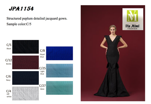 JOHN PAUL ATAKER STYLE #JPA1154  STUCTURED PELUM DETAILED JACQUARD GOWN