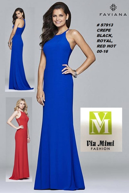 FAVIANA STYLE #S7913  CREPE   SIZE : 00-16  COLOR: BLACK, RED HOT, ROYAL  FOR MORE IMFORMATION AND PRICE PLEASE GIVE US A CALL   WE BEAT  ALL PRICES !!!!  VIA MIMI FASHION  1333 S. SANTEE ST.  LA,CA.90015  TEL: (213)748-MIMI (6464)  FAX: (213)749-MIMI (6464)  E-Mail: mimi@viamimifashion.com  http://viamimifashion.com  https://www.facebook.com/viamimifashion    https://www.instagram.com/viamimifashion  https://twitter.com/viamimifashion