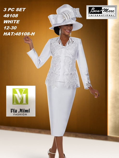 BEN MARC STYLE #48108  3 PC SET  COLOR: WHITE  SIZE : 12-30  HAT: 48108-H  FOR MORE IMFORMATION AND PRICE PLEASE GIVE US A CALL   WE BEAT  ALL PRICES !!!!  VIA MIMI FASHION  1333 S. SANTEE ST.  LA,CA.90015  TEL: (213)748-MIMI (6464)  FAX: (213)749-MIMI (6464)  E-Mail: mimi@viamimifashion.com  http://viamimifashion.com  https://www.facebook.com/viamimifashion    https://www.instagram.com/viamimifashion  https://twitter.com/viamimifashion