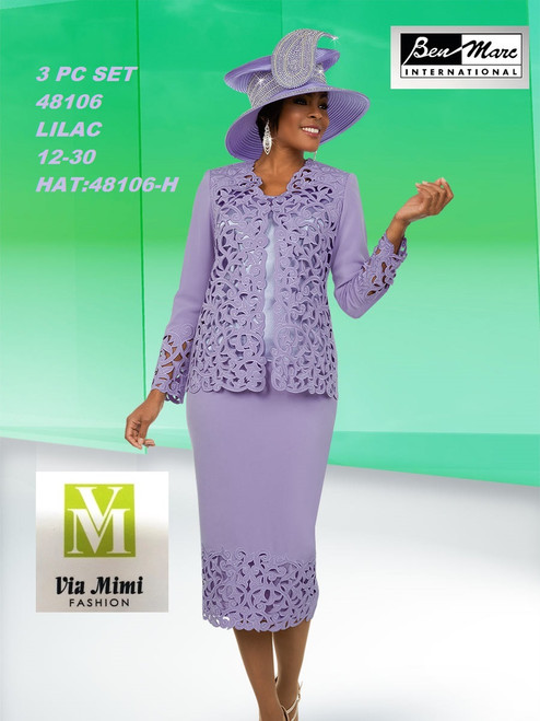 BEN MARC STYLE #48106  3 PC   SET  COLOR: LILAC  SIZE : 12-30  HAT: 48106-H  FOR MORE IMFORMATION AND PRICE PLEASE GIVE US A CALL   WE BEAT  ALL PRICES !!!!  VIA MIMI FASHION  1333 S. SANTEE ST.  LA,CA.90015  TEL: (213)748-MIMI (6464)  FAX: (213)749-MIMI (6464)  E-Mail: mimi@viamimifashion.com  http://viamimifashion.com  https://www.facebook.com/viamimifashion    https://www.instagram.com/viamimifashion  https://twitter.com/viamimifashion