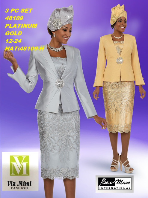 BEN MARC STYLE #48109  3 PC   SET  COLOR: PLATINUM, GOLD   SIZE : 12-24  HAT: 48109-H  FOR MORE IMFORMATION AND PRICE PLEASE GIVE US A CALL   WE BEAT  ALL PRICES !!!!  VIA MIMI FASHION  1333 S. SANTEE ST.  LA,CA.90015  TEL: (213)748-MIMI (6464)  FAX: (213)749-MIMI (6464)  E-Mail: mimi@viamimifashion.com  http://viamimifashion.com  https://www.facebook.com/viamimifashion    https://www.instagram.com/viamimifashion  https://twitter.com/viamimifashion