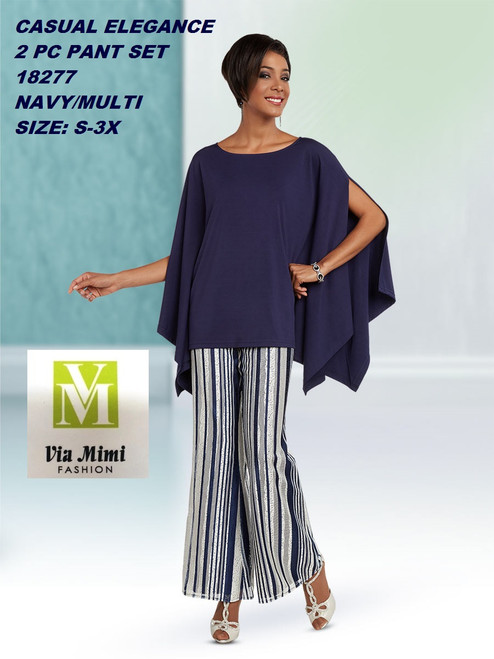 CASUAL ELEGANCE  STYLE #18277  2 PC PANT  SET  COLOR: NAVY/MULTI  SIZE: S-3X  FOR MORE IMFORMATION AND PRICE PLEASE GIVE US A CALL   WE BEAT  ALL PRICES !!!!  VIA MIMI FASHION  1333 S. SANTEE ST.  LA,CA.90015  TEL: (213)748-MIMI (6464)  FAX: (213)749-MIMI (6464)  E-Mail: mimi@viamimifashion.com  http://viamimifashion.com  https://www.facebook.com/viamimifashion    https://www.instagram.com/viamimifashion  https://twitter.com/viamimifashion