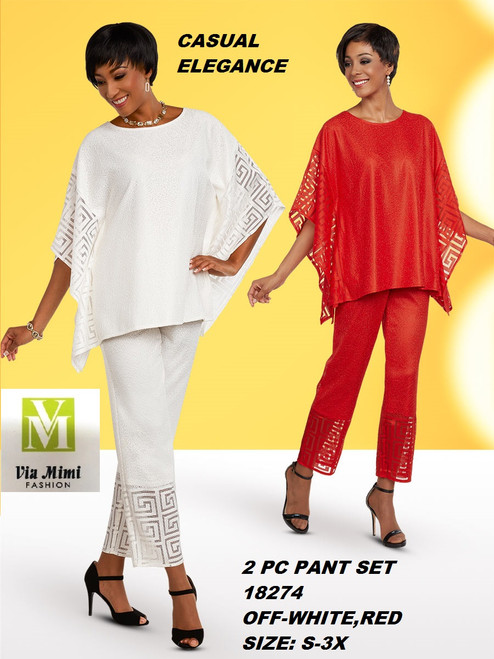 CASUAL ELEGANCE  STYLE #18274  2 PC PANT SET  COLOR: OFF-WHITE, RED  SIZE: S-3X  FOR MORE IMFORMATION AND PRICE PLEASE GIVE US A CALL   WE BEAT  ALL PRICES !!!!  VIA MIMI FASHION  1333 S. SANTEE ST.  LA,CA.90015  TEL: (213)748-MIMI (6464)  FAX: (213)749-MIMI (6464)  E-Mail: mimi@viamimifashion.com  http://viamimifashion.com  https://www.facebook.com/viamimifashion    https://www.instagram.com/viamimifashion  https://twitter.com/viamimifashion