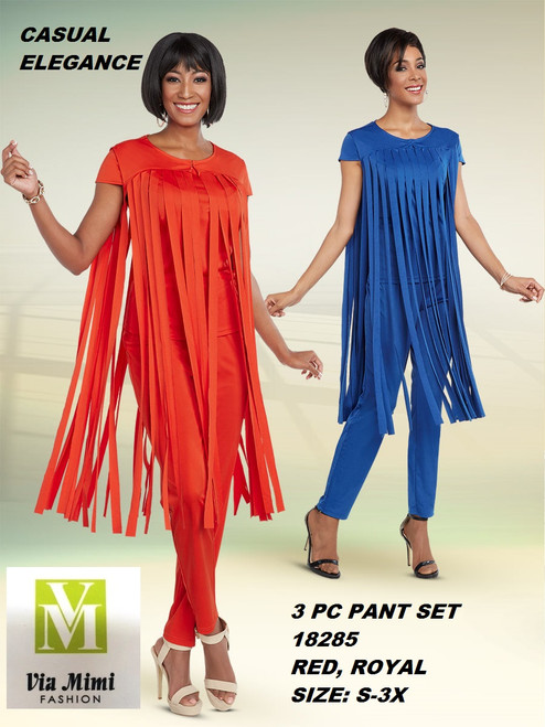 CASUAL ELEGANCE  STYLE #18285 -3 PC  PANT SET  COLOR: ROYAL, RED   SIZE: S-3X  FOR MORE IMFORMATION AND PRICE PLEASE GIVE US A CALL   WE BEAT  ALL PRICES !!!!  VIA MIMI FASHION  1333 S. SANTEE ST.  LA,CA.90015  TEL: (213)748-MIMI (6464)  FAX: (213)749-MIMI (6464)  E-Mail: mimi@viamimifashion.com  http://viamimifashion.com  https://www.facebook.com/viamimifashion    https://www.instagram.com/viamimifashion  https://twitter.com/viamimifashion