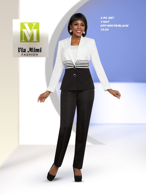 EXECUTIVE #11647__  3 PC PANT SET  COLOR: OFF-WHITE/BLACK  SIZE: 12-24  FOR MORE IMFORMATION AND PRICE PLEASE GIVE US A CALL   WE BEAT  ALL PRICES !!!!  VIA MIMI FASHION  1333 S. SANTEE ST.  LA,CA.90015  TEL: (213)748-MIMI (6464)  FAX: (213)749-MIMI (6464)  E-Mail: mimi@viamimifashion.com  http://viamimifashion.com  https://www.facebook.com/viamimifashion    https://www.instagram.com/viamimifashion  https://twitter.com/viamimifashion