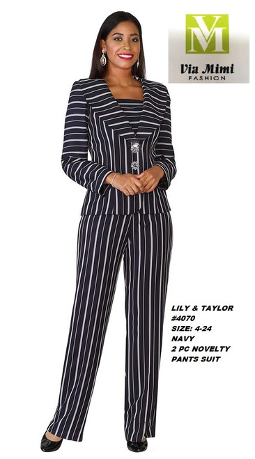 LILY & TAYLOR #4070__  2 PC NOVELTY  PANTS  SUIT  COLOR: NAVY  SIZE: 4-24  FOR MORE IMFORMATION AND PRICE PLEASE GIVE US A CALL   WE BEAT  ALL PRICES !!!!  VIA MIMI FASHION  1333 S. SANTEE ST.  LA,CA.90015  TEL: (213)748-MIMI (6464)  FAX: (213)749-MIMI (6464)  E-Mail: mimi@viamimifashion.com  http://viamimifashion.com  https://www.facebook.com/viamimifashion    https://www.instagram.com/viamimifashion  https://twitter.com/viamimifashion