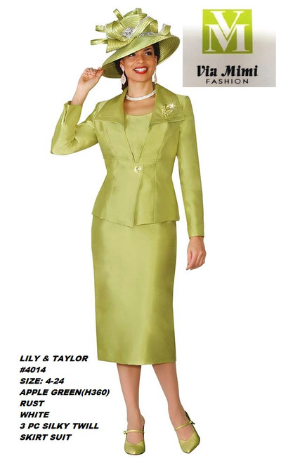 LILY & TAYLOR #4014__ 3 PC SILKY TWILL SUIT  COLOR: APPLE GREEN, RUST, WHITE  SIZE: 4-24  FOR MORE IMFORMATION AND PRICE PLEASE GIVE US A CALL   WE BEAT  ALL PRICES !!!!  VIA MIMI FASHION  1333 S. SANTEE ST.  LA,CA.90015  TEL: (213)748-MIMI (6464)  FAX: (213)749-MIMI (6464)  E-Mail: mimi@viamimifashion.com  http://viamimifashion.com  https://www.facebook.com/viamimifashion    https://www.instagram.com/viamimifashion  https://twitter.com/viamimifashion