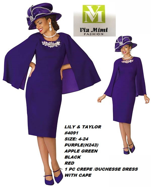 LILY & TAYLOR #4091__ 1 PC CREPE/DUCHESSE DRESS W/CAPE  COLOR: PURPLE(H243), APPLE GREEN, BLACK, RED  SIZE: 4-24  FOR MORE IMFORMATION AND PRICE PLEASE GIVE US A CALL   WE BEAT  ALL PRICES !!!!  VIA MIMI FASHION  1333 S. SANTEE ST.  LA,CA.90015  TEL: (213)748-MIMI (6464)  FAX: (213)749-MIMI (6464)  E-Mail: mimi@viamimifashion.com  http://viamimifashion.com  https://www.facebook.com/viamimifashion    https://www.instagram.com/viamimifashion  https://twitter.com/viamimifashion
