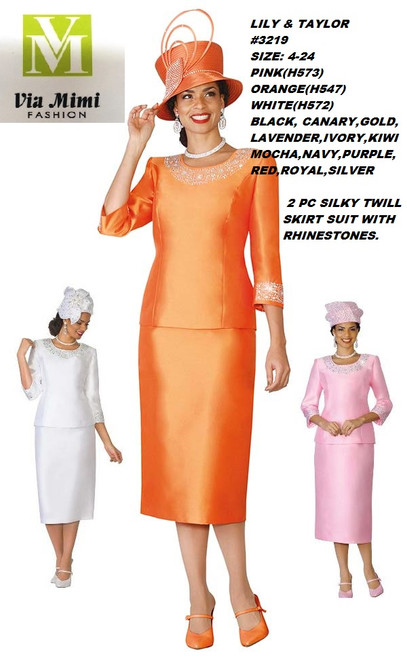 LILY & TAYLOR #3219__ 2 PC SILKY TWILL  SUIT  COLOR: PINK,ORANGE,WHITE,BLACK, CANARY,GOLD,LAVENDER,IVORY,KIWI,MOCHA              NAVY, PURPLE,RED,ROYAL,SILVER   SIZE: 4-24  FOR MORE IMFORMATION AND PRICE PLEASE GIVE US A CALL   WE BEAT  ALL PRICES !!!!  VIA MIMI FASHION  1333 S. SANTEE ST.  LA,CA.90015  TEL: (213)748-MIMI (6464)  FAX: (213)749-MIMI (6464)  E-Mail: mimi@viamimifashion.com  http://viamimifashion.com  https://www.facebook.com/viamimifashion    https://www.instagram.com/viamimifashion  https://twitter.com/viamimifashion