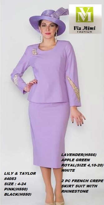 LILY & TAYLOR #4053__ 2 PC FRENCH CREPE SUIT  COLOR: PINK(H550), BLACK, LAVENDER, APPLE GREEN, ROYAL, WHITE  SIZE:4-24  FOR MORE IMFORMATION AND PRICE PLEASE GIVE US A CALL   WE BEAT  ALL PRICES !!!!  VIA MIMI FASHION  1333 S. SANTEE ST.  LA,CA.90015  TEL: (213)748-MIMI (6464)  FAX: (213)749-MIMI (6464)  E-Mail: mimi@viamimifashion.com  http://viamimifashion.com  https://www.facebook.com/viamimifashion    https://www.instagram.com/viamimifashion  https://twitter.com/viamimifashion